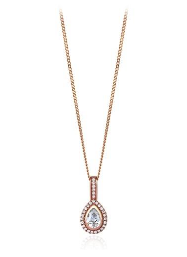1,10 Ct Pırlanta Efekt Altın Damla Entourage Roz Kolye-Tophills Diamond Co.